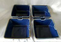 4 lot set Pottery Barn Japan ASIAN SQUARE BLUE Noodle Bowls 6""