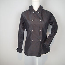 BARRY BRICKEN SZ 8 Blazer Black SILK Jacket COAT LIGHTWEIGHT CRYSTAL BUTTONS W9