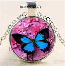 Blue Butterfly Photo Cabochon Glass Dome Silver Chain Pendant Necklace