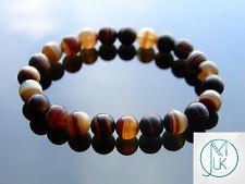 Brown Banded Agate Natural Gemstone Bracelet 7-8'' Elasticated Healing Stone
