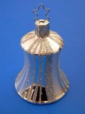 INGE GLAS FANCY STRIPES SILVER BELL GERMAN GLASS CHRISTMAS TREE ORNAMENT GLOCKE