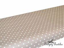 Polka Tablecloth Oilcloth Vinyl PVC Wipe Clean Taupe 140 X 140cm