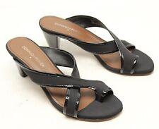 Donald J Pliner Velo Womens Sandal 7 M Black Crepe Patent Leather Heel Shoes