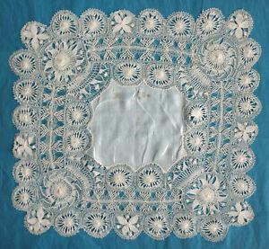 Antique silk Nanduti lace handkerchief