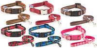 Ancol Indulgence Adjustable Nylon Dog Puppy Collars Leads Tartan