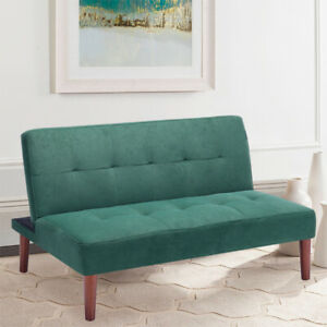 Nordic Small 2 Seater Suede Velvet Sofa Bed Couch Settee Recliner Sleeper Sofas