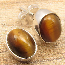 FACTORY DIRECT !! Stud Post Earrings, Cabochon TIGER'S EYE Silver Plated Jewelry