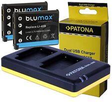 2x Battery Akku für Casio NP-80 / NP-82 + Patona Dual USB Ladegerät