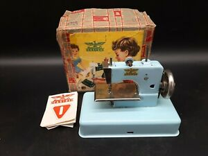 Vintage Casige Light Blue Child Sewing Machine Toy with Box and Instructions