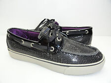 Women's Sperry Top Side Bahama Black Sequins Canvas Sneakers Boat Shoe Size 5