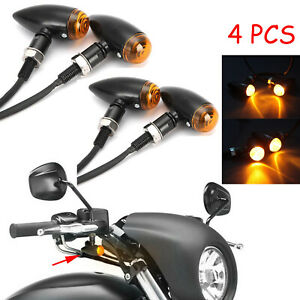 4x Mini Bullet Black Motorcycle LED Turn Signals Light Amber Running Tail Lights