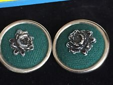 2 VINTAGE Extra Large Green Fabric ROSE ESCUTCHEON on SILVER METAL BUTTON