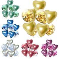 10pcs Metallic Heart Shaped Latex Confetti Balloons Birthday Wedding Party Decor