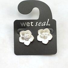 Joli tone argenté prune prunus boucles d'oreilles clous fleur avec cristal