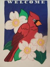 """Welcome"" Cardinal Red Bird & Dogwood Flowers, shaped around tail, Garden flag"