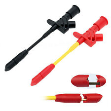 1x Fully Insulated Quick Piercing Test Clips Multimeter Test Probe Spring Load *