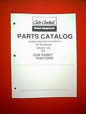 "CUB CADET GARDEN TRACTOR 42"" SNOWBLADE PLOW MODEL # 375 ATTACHMENT PARTS MANUAL"