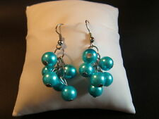 Earrings 1 Pair - BALLS IN TURQUOISE/Light Blue - Hanging - inkgrafix NEW