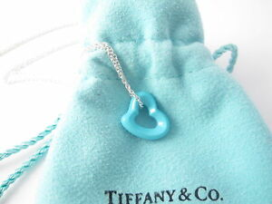 Tiffany & Co MINT NEW Silver Blue Turquoise Peretti Open Heart Charm Necklace