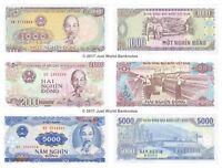 Vietnam 1000 + 2000 + 5000 Dong Set of 3 Banknotes 3 PCS UNC