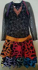 Skelita Calavera MONSTER HIGH Costume Dress Sz 14-16 Skull/Bow Pin Shimmery Belt