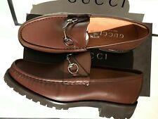 Gucci Men's Classic Horsebit Brown Leather Lug Sole Loafers Sz 10.5US - NIB w/tg