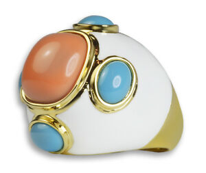 Hampt 18K Yellow Gold Plated Orange Blue Resin White Epoxy Fashion Cocktail Ring