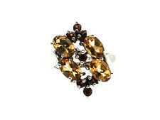 Sterling SIlver Cluster Ring with Oval & Round Citrine and Garnet Stones Size-8
