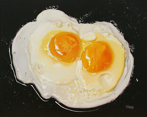 """Giclee fine art print of oil painting two fried eggs, food 8""""×10"""", 16""""×20"""""""
