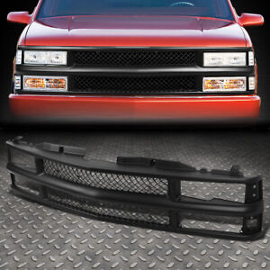 FOR 94-00 CHEVY C10 C/K/TAHOE/BLAZER FRONT BUMPER BLACK ABS MESHED GRILLE/FRAME