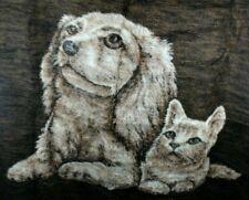 Vintage Biederlack Reversible Blanket Throw Cat Dog Made In Usa Fleece High Pile