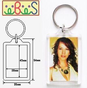 100x Blank Acrylic Keyrings 49x35mm Frame & 43x28mm Photo key ring plastic 09008