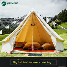 6M Beige Waterproof Cotton Canvas Family Camping Bell Tent Outdoor Beach