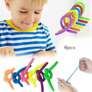 6x Stretchy Noodle String Neon Kids Children Fidget Stress Relief Sensory Toy⭐⭐⭐