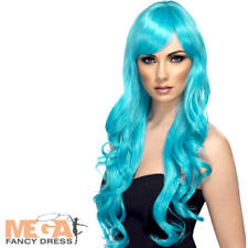 Aqua Desire Long Hair Wig Ladies Fancy Dress Adults Mermaid Costume Accessory