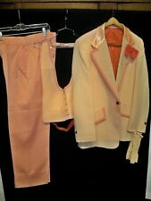 Vintage 1970s Peach Orange Tuxedo Jacket Pants Vest Tie Gloves Costume 42R