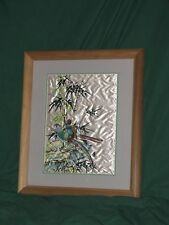 Oriental Silky Pheasant Bamboo Artwork with Solid Wood Frame-John M. Osso-22x18