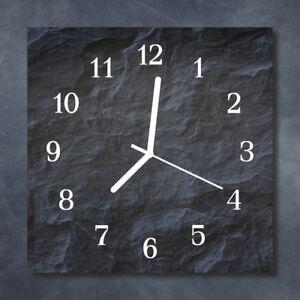 Tulup Glasuhr Wanduhr Küchenuhr Echt-Glas 30x30 cm Holz schwarz