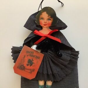 Paper doll Vintage Halloween ornaments, Witch, gift tags  item# 8