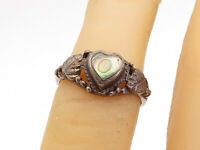 925 Sterling Silver - Vintage Abalone Floral Love Heart Band Ring Sz 5 - R17289
