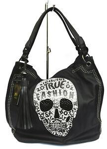 Handtasche Henkeltasche Skull Totenkopf Schultertasche Punk Damentasche Gothic