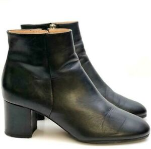 WHISTLES Block Heel Black Leather Ankle Boots EUR41 UK8 RRP£175 *SUPERB COND*