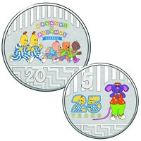 Australia 2017 25 Years Bananas In Pajamas 5c & 20c Coloured UNC Coins Carded