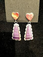Sterling/Spiny Oyster Heart/Calsilica Earrings