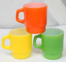 3 Vtg Fire King Coffee Cup Mug Glass Anchor Hock D Stacking Orange Green Yellow