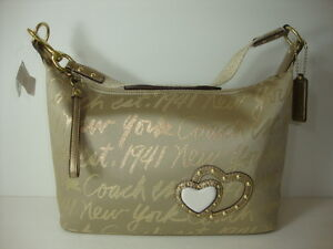New Coach Signature Script Lurex Hobo ~ 17472