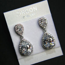 Very Shiny Cubic Zirconia Cluster Teardrop Wedding Prom Party Drop Earrings UK