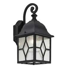 TRADITIONAL BLACK OUTDOOR CATHEDRAL STYLE LEAD GLASS WALL COACH LANTERN LIGHT