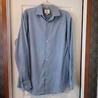 Charles Tyrwhitt Blue White Check Cotton Slim Fit Dress Shirt - 17/37