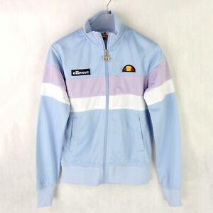 Womens ELLESSE Retro Zip up Track Jacket SIZE UK 6 Pastel blue pink Bomber sweat